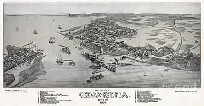 Cedar Key Drawing - Bird's Eye View Of Cedar-key Florida by Celestial Images
