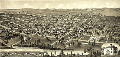Birds Eye View Of Cheney, Wash. Ter Art Print by Litz Collection
