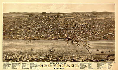 Lake Erie Drawing - Bird's Eye View Of Cleveland Ohio 1877 by Mountain Dreams