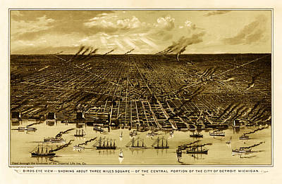 Detroit Drawing - Bird's-eye View Of Detroit 1889 by Mountain Dreams