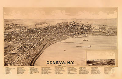 Geneva Drawing - Bird's-eye View Of Geneva New York 1893 by Mountain Dreams