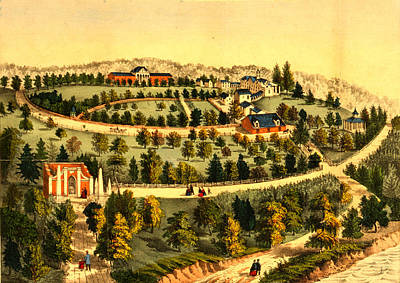 George Washington Drawing - Birds Eye View Of George Washingtons Mount Vernon Estate by Litz Collection