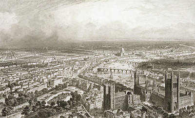 Scene Drawing - Birds Eye View Of London From Westminster Abbey by Nicolas Marie Joseph Chapuy