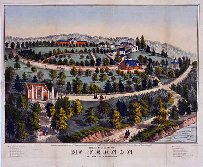 Impression Drawing - Birds Eye View Of Mt. Vernon The Home Of Washington G. & F by Litz Collection