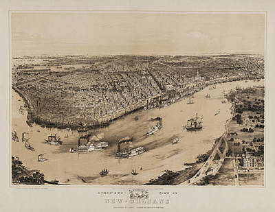 Birds Eye View Of New Orleans 1852 Art Print by Bill Cannon