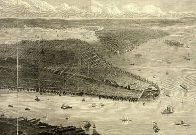 Brooklyn Bridge Drawing - Birds Eye View Of New York City, New York by Litz Collection