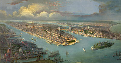 Brooklyn Bridge Drawing - Birds Eye View Of New York City With The Hudson River by Litz Collection