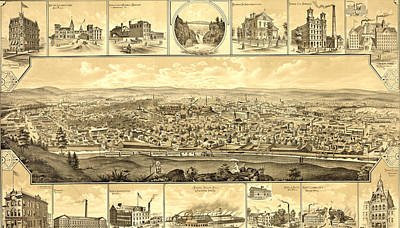 Top View Drawing - Birds Eye View Of Paterson, New Jersey Showing Railroad by Litz Collection