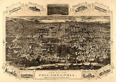 Philadelphia Drawing - Birds Eye View Of Philadelphia Between The Schuykill River by Litz Collection