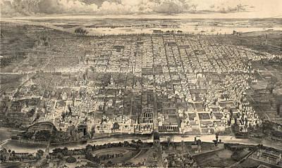 Philadelphia Drawing - Birds Eye View Of Philadelphia By John Weik by Litz Collection