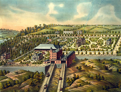 Cincinnati Drawing - Birds Eye View Of Price Hill Inclined Planes by Litz Collection
