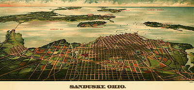 1890s Drawing - Bird's Eye View Of Sandusky Ohio 1898 by Mountain Dreams