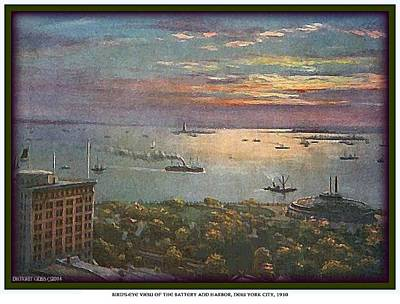Painting - Bird's-eye View Of Statue Of Liberty- New York Bay- 1910 by Dwight Goss