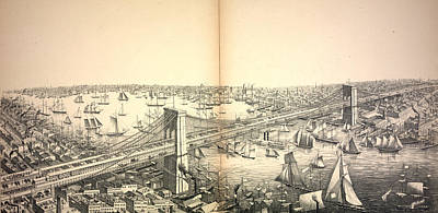 Suspension Drawing - Birds Eye View Of The Great Suspension Bridge by Litz Collection