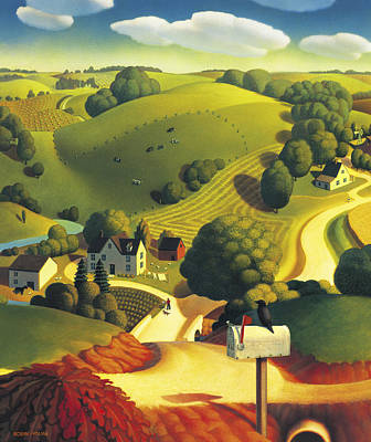 Farm Scene Painting - Birds Eye View by Robin Moline