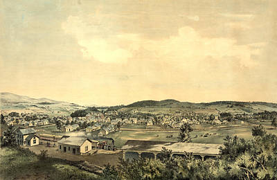 Vermont Drawing - Birds Eye View Showing Ludlow, Vermont, 1859 From South Hill by Litz Collection