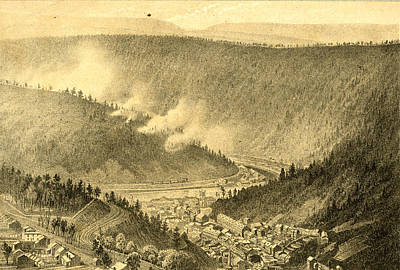 Pennsylvania Drawing - Birds Eye View Showing Mauch Chunk, Pennsylvania by Litz Collection