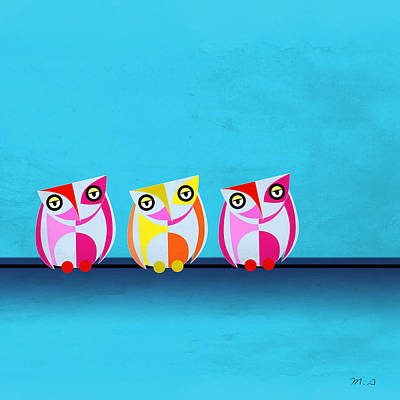 Colored Owl Painting - Birds In Blue  by Mark Ashkenazi