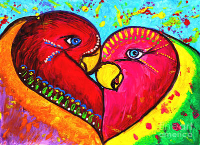 Julia Child Painting - Birds In Love Pop Art by Julia Fine Art And Photography