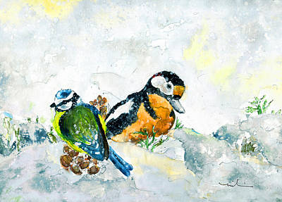 Painting - Birds In Snow In Germany by Miki De Goodaboom
