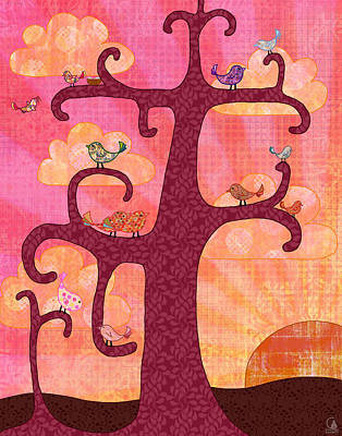 Sun Rays Digital Art - Birds In Tree At Sunrise by Cat Whipple