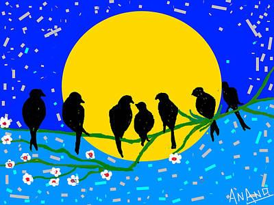 Life Study . Ganesha Digital Art - Birds Meet by Anand Swaroop Manchiraju