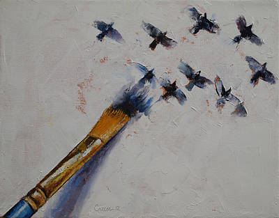 Surrealist Painting - Birds by Michael Creese