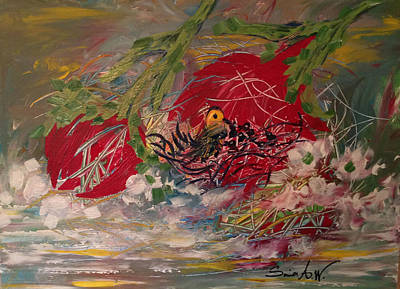 Painting - Birds Nest At The Pond by Sima Amid Wewetzer