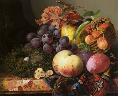 Vineyard Digital Art - Birds Nest Butterfly And Fruit Basket by Edward Ladell