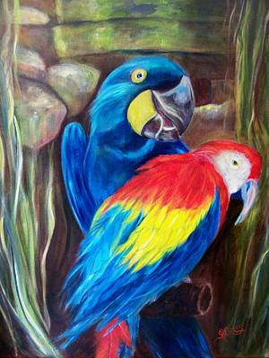 Bird's Of A Feather, Macaws Art Print