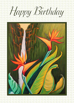 Painting - Birds Of Paradise Card by Ruth Soller