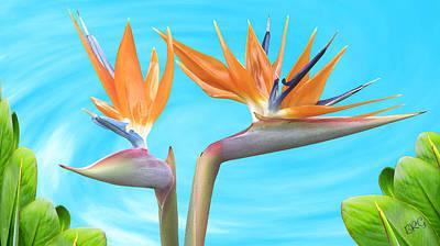 Birds Of Paradise. Couple Art Print by Ben and Raisa Gertsberg