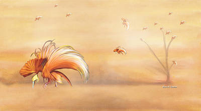 Birds Of Paradise In The Fog Print by Angela A Stanton