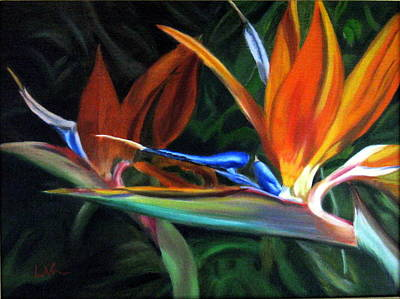 Art Print featuring the painting Birds Of Paradise by LaVonne Hand