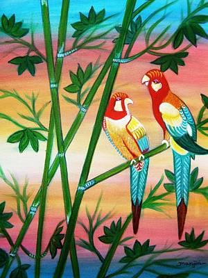 Sunset Painting - Birds In Paradise by Manjiri Kanvinde