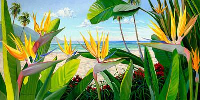 Bird Of Paradise Flowers Painting - Birds Of Paradise by Steve Simon