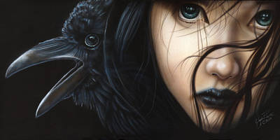 Black Is Beautiful Wall Art - Painting - Birds Of Prey- Raven by Wayne Pruse