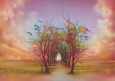 Painting - Birds Of Rainbow Mist by Anna Ewa Miarczynska