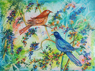 Art Print featuring the painting Birds Of Spring by Yolanda Rodriguez