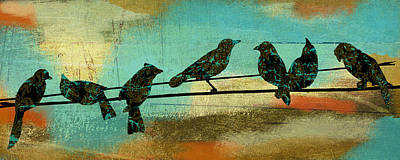 Birds.street Scenes Painting - Birds On A Wire I by Marilu Windvand
