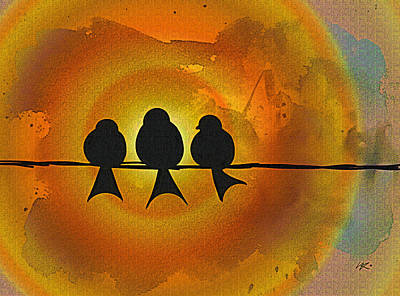 Digital Art - Birds On A Wire by Kiki Art