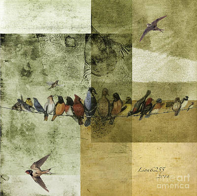 Art Print featuring the digital art Birds On A Wire by Melissa Messick