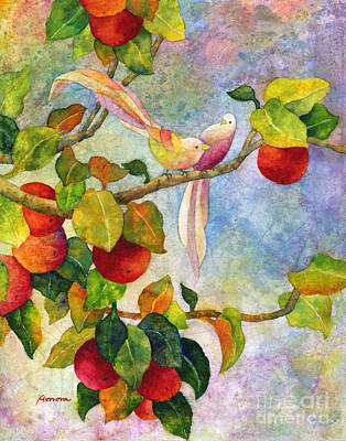 Birds On Apple Tree Print by Hailey E Herrera