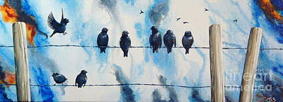 Birds On Barbed Wire Art Print