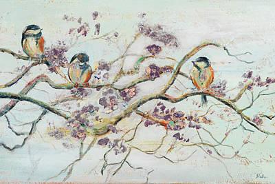 Birds On Cherry Blossom Branch Art Print by Patricia Pinto