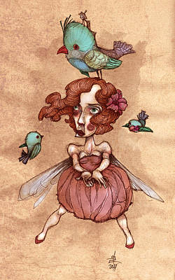 Birds On Head Woman Art Print by Autogiro Illustration