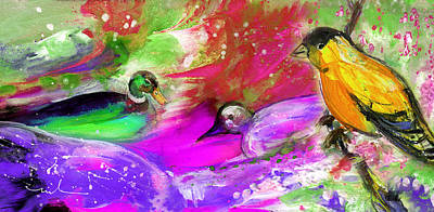 Painting - Birds On Planet Goodaboom by Miki De Goodaboom