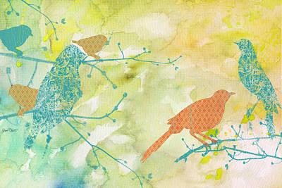 Birds On Watercolor-a Original