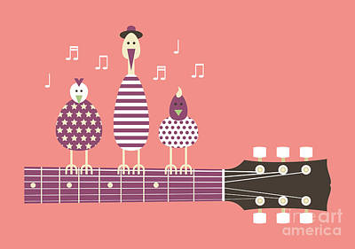 Roll Wall Art - Digital Art - Birds Sing To The Guitar Neck, Vector by Ladislav Krajca