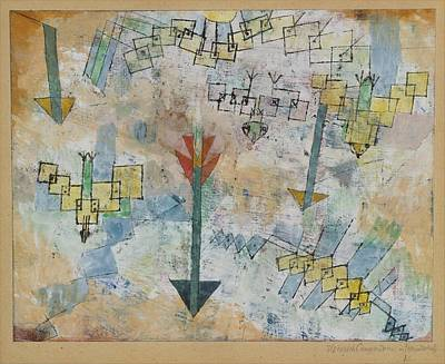 Birds Swooping Down And Arrows Art Print by Paul Klee